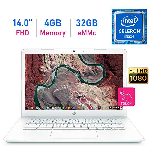 HP Chromebook 14-inch Touchscreen (1920x1080) FHD IPS WLED-Backlit Display Laptop PC, Intel Dual Core Celeron N3350 up to 2.4GHz, 4GB LPDDR4 RAM, 32GB eMMC, B&O Play, Webcam, Bluetooth, Chrome OS