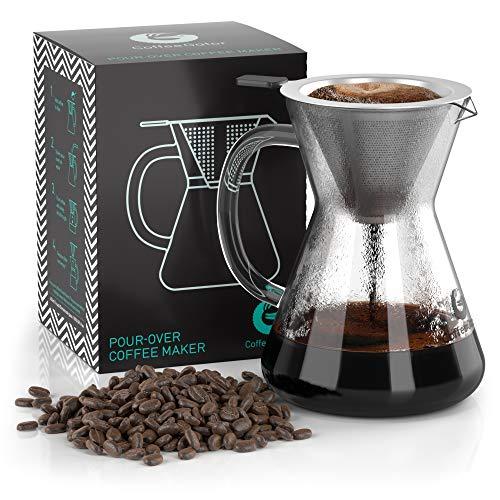 Coffee Gator Pour Over Kaffeebrüher – Mehr Geschmack mit einem papierlosen Edelstahlfilter und Einer Glaskaraffe – Manueller Drip Kaffeebereiter – 300 ml