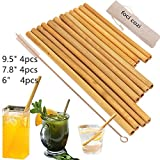 Organic Bamboo Drinking Straws. Reusable Bamboos Straws Alternative to Plastic Kids Straws. Set of 12 Reusable Bamboo Straws with 3 Sizes 6', 8', 9'for Different Size Cups - Includes 1 Bonus Nylon C