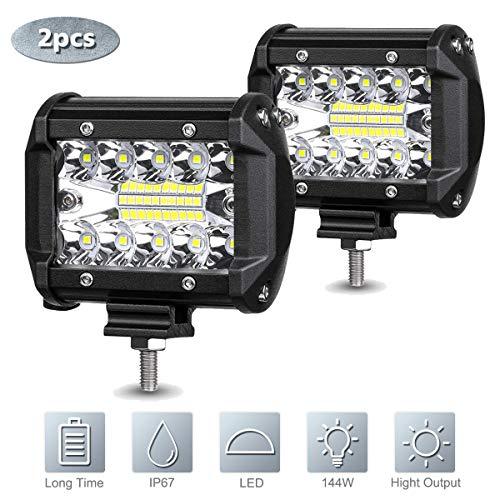 2 PCS LED Faro da Lavoro Luce Barra, 4 Pollici 12V 60W Faretti Fendinebbia LED Impermeabile IP67 Luci di Lavoro Fuoristrada Fari Trattore per Moto Auto ATV SUV Trattore