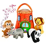Gift for 1-5 year old EDUCATIONAL Plush Toy Talking Animal Set, Stuffed Animals, Elephant Monkey Lion & Panda Baby Toddler Toys, FEATURING 4 ADORABLE AUDIOS for ALL 4 Toys, REAL SOUNDS and 4 FUN FACTS