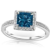 1.3 Carat t.w 14K White Gold Victorian Halo Style Square Shaped Pave Set Round Diamond Engagement...