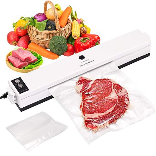 Confezionatrice sottovuoto SKYECO 4 in 1 per uso domestico e professionale, con 20 buste sottovuoto per alimenti secchi e umidi, molto adatta per carne, pesce, snack, frutta e verdura