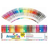 AmazaPens Gel Coloring Pens - 40 Pack Super Glitter | 150% More Ink Than Other Sets | Best for Adding Sparkle to Your Adult Coloring Books and Art Projects