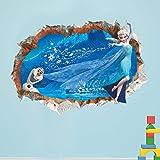 YRSM Pegatinas de pared de dibujos animados rotos de Frozen, decoración de habitación de niños, pegatinas de pared para jardín de infantes