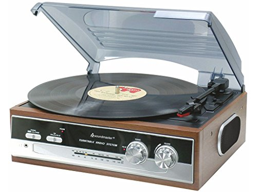 Soundmaster PL-186 - Lettore CD Vinile Vintage Con Radio SFM/FM-ST Stereo, Giradischi in Legno,...