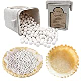 PLANTIONAL Pie Weights For Baking: 10mm Baking Ceramic Beans Pie Crust Weights With Wheat Straw Container For Blind Baking Pastry(1.32 Lb/600g)(Beige)