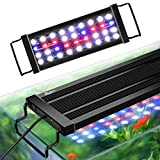 AQQA Aquarium LED Lights,Fish Tank Light with Extendable Brackets,Waterproof Full Spectrum Blue Red White LEDs with External Timer Controller for Freshwater Planted (Black, 11W (12'-18'))