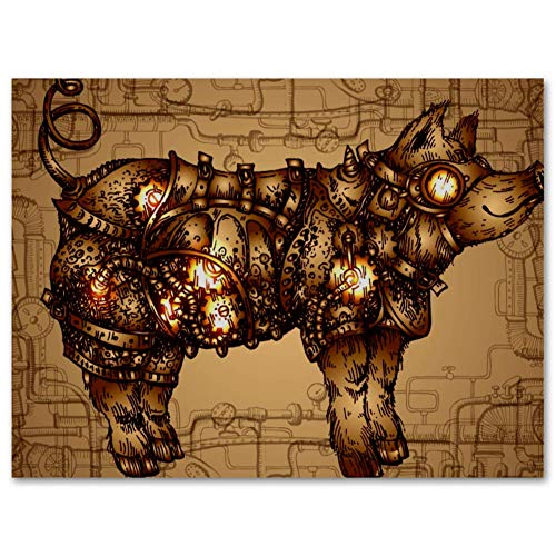 TIZORAX Steampunk Pig Oil Painting Prints on Canvas Framed Ready to Hang for Home Living Room Office Wall Art Decor 11.8x17.7 inch