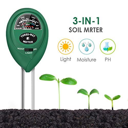 CharmUO Soil Moisture Meter, 3-in-1 Soil Moisture/Light/pH Tester Gardening Tool Kits, Soil pH Meter Test Kit for Garden, Lawn, Farm, Indoor & Outdoor Use