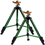Twinkle Star Impact Sprinkler Head on Tripod Base, Heavy Duty Brass Sprinkler Nozzle, Solid Alloy Metal Extension Legs Flip Locks, 3/4 Inch Connector and Adapter Set, 360 Degree Coverage, 2 Pack