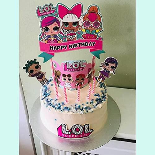 Image 6 - LOL joyeux anniversaire Cake Topper Cupcake Picks Cartoon Gâteau Décoration Enfants Filles Fête D'anniversaire Fournitures 5 pcs