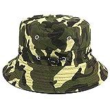 Bllomsem Chapeau de pêcheur Été Coton Safari Randonnée Chapeau de Seau en Plein air Sun écrasable Casquette réglable Camouflage