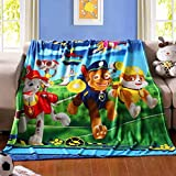 """FairyShe Fleece Throw Blanket Plush Sheet for Kids 59"""" x 79"""" Fleece Soft Warm Throw Fuzzy Blanket for Bed Couch Chair Fall Winter Spring Living Room (Nickelodeon Paw Patrol)"""