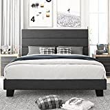 Amolife Full Size Platform Bed Frame with Headboard and Wood Slat Support, Fabric Upholstered Low Profile Metal Frame Mattress Foundation, No Box Spring Needed, Easy Assembly, Dark Grey