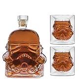 Bkuter bottle Kreative transparente Whiskykaraffe für Whisky, Wodka und Wein, 1 x Stormtrooper Flasche (750 ml) und 2 Gläser (8,5 x 9,5 x 9 cm)