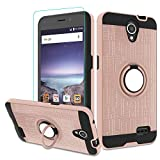 Atump Maven 2 Z831/ ZFive 2/ Sonata 3/ Avid Trio Z833/ Avid Plus Z828/ Prestige N9132/ Prestige 2 Case with HD Screen Protector, Ring Holder Kickstand Phone Case for N9136 Rose Gold