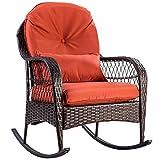Tangkula Wicker Rocking Chair Outdoor Porch Garden Lawn Deck Wicker Rocker Patio Furniture w/Cushion (Colourful Cushion)