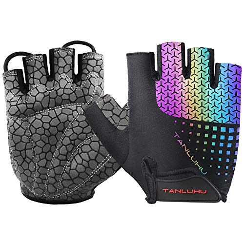Tanluhu Biking Gloves Mountain Bike Gloves Half Finger Road Racing Riding Gloves Absorbing Padded Breathable Cycling Gloves for Men and Women