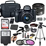Canon EOS M50 Mirrorless Digital Camera (Black) with 15-45mm STM Lens + Deluxe Accessory Bundle Including Sandisk 32GB Card, Canon Case, Flash, Grip Multi Angle Tripod, 50' Tripod, Filters and More.
