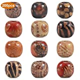 Dokpav Perles en Bois, 200pcs Perles Rondes, Mixte Colore Perles...