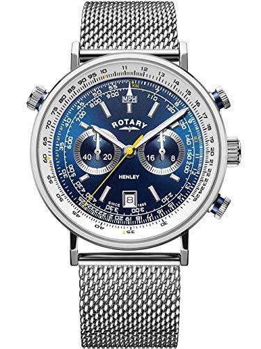 Rotary   Herren Henley Chronograph   blaues Zifferblatt   braunes Lederband GS05235/05
