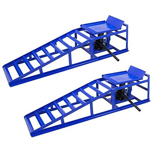 NAIZY 2 Stück Laderampe mit hydraulischem Wagenheber Hebeplattform - Laderampe Set 2000kg Reifenbreite bis 225 für PKW und Kleintransporter