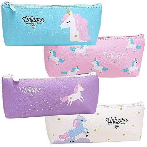 Multifunzionale Astuccio 4 Pcs Unicorno Astuccio, Durevole Pencil Case con Cerniere Zip,Set Penne per Unicorno Ragazze Regalo di Compleanno per Bambine Simpatiche Penne per Unicorno Set