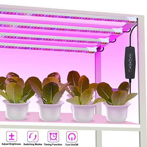 LED Pflanzenlampe 48w Pflanzenlicht 192 LEDs Pflanzenleuchte mit Timer 3H/6H/12H, Dimmbar 6 Level Strip Wachsen licht 3 Modus Wachstumslampe für Zimmerpflanzen Gartenarbeit [4 Stück]