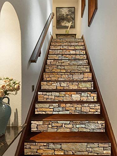 3D Brick Stair Stickers Decals Stone Staircase Decals Removable Tile...