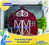Breyer Stablemates Friendship Foals Pocket Barn Horse Toy | 4 Piece Play Set with 2 Horses | 1:32 Scale | Model #5343