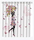 LB thème unbrealla Fille Femme Papillon Fleur Accessoire de Salle de Bain Chambre à Coucher en Tissu polyesteravec Crochets,180 * 180 cm