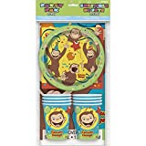 Curious George Party Pack for 8 - Includes 8 Plates, 8 Cups, 8 Napkins, 1 Table Cover