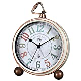 Maxspace Table Clock, 5.2' Retro Vintage Non-Ticking Desk Alarm Clock, Small Alarm Clock with Large Numerals and HD Glass, for Kids Seniors Indoor Decor (White-C)