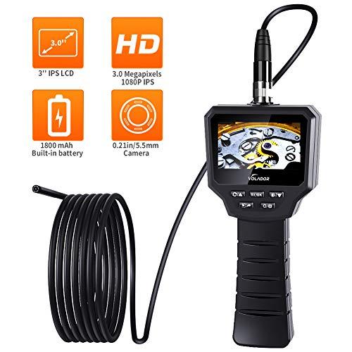 Volador Endoscopio, 3 Pollici 3,0 Megapixel 1080P HD IPS LCD Hd, Batteria 1800mAh Integrata Ricaricabile Boroscopio, 5,5 Millimetri IP67 Impermeabile 6LED Video Endoscopi Palmare Semirigido, 3M