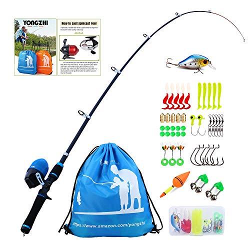 Sougayilang Canna da Pesca per Bambini con Canna Bobina telescopica Canna da Pesca Completa Kit Completo per Ragazzi, Ragazze e Adulti-Blue