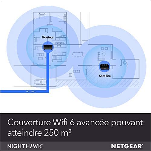 51c9dPYuI8L._SL500_ [Bon plan] !  NETGEAR Système WiFi 6 Mesh Nighthawk (MK62) – Routeur WiFi 6 AX1800 pack de 2 pour un wifi partout dans la maison,...