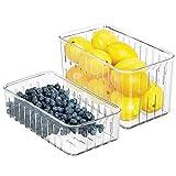 mDesign Juego de 2 cajas organizadoras para frigorífico – Prácticas cajas para comida con ranuras de ventilación para una mejor conservación – Cajas plásticas sin BPA para la nevera – transparente