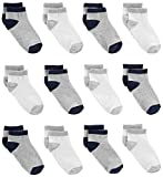 Simple Joys by Carter's Baby Boys' Toddler 12-Pack Sock Ankle, Gray, White, 2T/3T