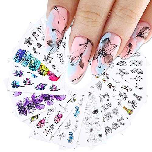 Nail Decals for Women Flowers Nail Art Stickers Black Floral Nail Water Decals Nail Accessories Water Transfer Nail Stickers for Acrylic Nails Design Supply Manicure Tips Decor (12 Sheets)
