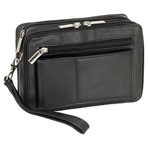 Herren Handgelenktasche Business Tasche mit Smartphonefach aus feinem Nappaleder in Schwarz