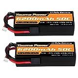 11.1V Lipo Battery, 3S Lipo Battery 6200mah 50C Hard Case Trx Plug For Traxxas RC Car/ Truck/Buggy, RC Boat, Airplane, UAV, Drone(2 Packs)