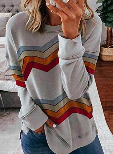 FARYSAYS Women's Casual Tie Dye Striped Round Neck Long Sleeve Loose Pullover Sweatshirt Tops