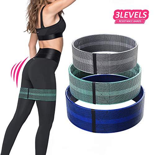 Bande di Resistenza Tessuto Bande Elastiche Fitness-Fascia di Resistenza per Esercizi Premium con...