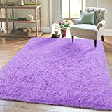 Super Soft Kids Room Nursery Rug 4' x 6' Purple Area Rug for Bedroom Decor Living Room Floor Carpets Fur Mat by VaryCarry