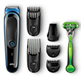 Braun MGK3040 7-in-1 All-in-One Beard Trimmer for Men, Cordless Hair Clipper, Black/Blue, with 5 Attachments and Gillette Body Razor