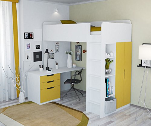 Polini Kids Kinder Etagenbett Hochbett Kombination 5 in 1 (weiß gelb)