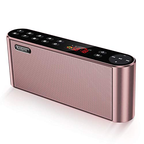 Antimi Bluetooth Speaker,FM Radio Player,MP3 Player Stereo Portable Wireless Speaker Drivers with HD Sound, Built-in Microphone, High Definition Audio and Enhanced Bass(Black) (Pink)