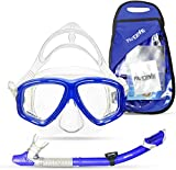 PRODIVE Premium Dry Top Snorkel Set - Impact Resistant Tempered Glass Diving Mask,Watertight and Anti-Fog Lens for Best Vision, Easy Adjustable Strap, Waterproof Gear Bag Included (Blue, Adults)