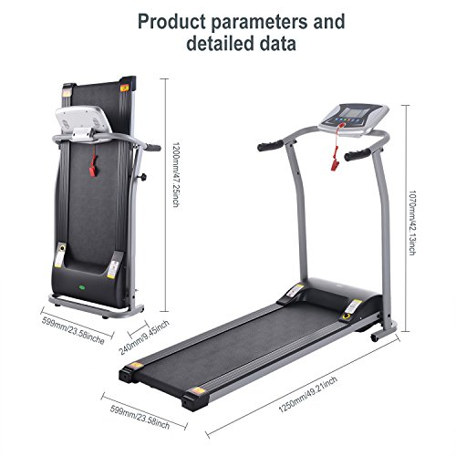 OppsDecor Folding Electric Treadmill for Home Running Machine Fitness Exercise Machine Power Motorized with Pulse Grip and Safety Key (Silver) 6